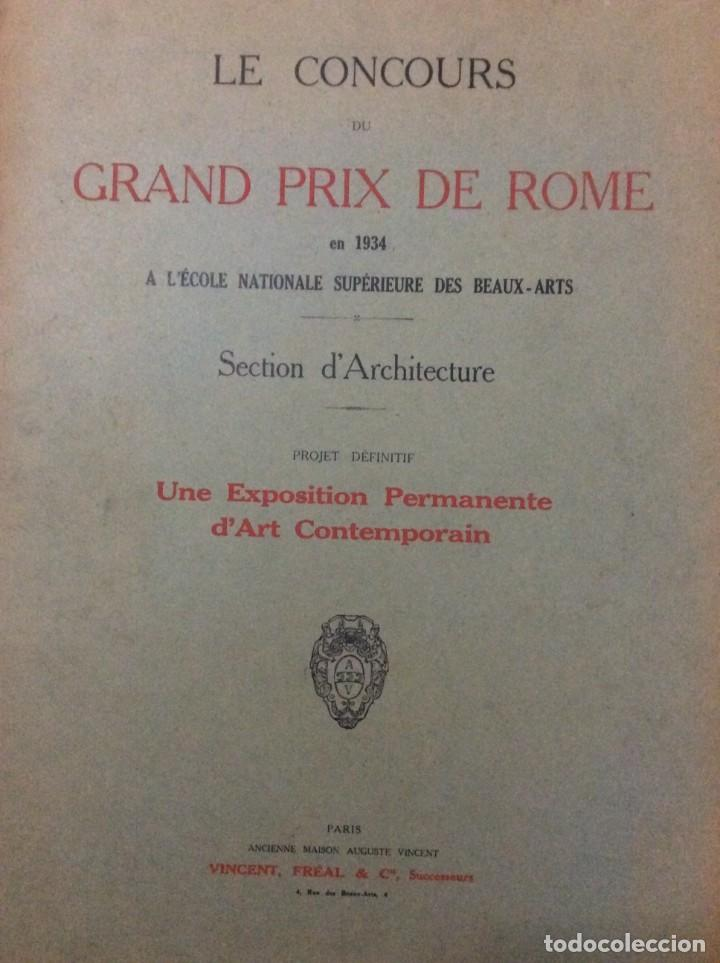 Libros antiguos: Le concours du grand prix de Rome en 1934... Section d´Architect - Foto 2 - 287611158
