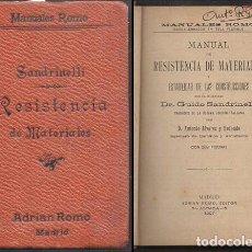 Libros antiguos: MANUAL DE RESISTENCIA DE MATERIALES Y ESTABILIDA DE LAS CONSTRUCCIONES - SANDRINELLI, G. - A-AT-1017. Lote 293492678