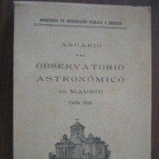 Libros antiguos: ANUARIO DEL OBSERVATORIO ASTRONÓMICO DE MADRID PARA 1938. Lote 20501907