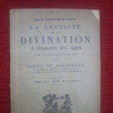 Libros antiguos: MANUAL DE ADIVINIZACIÓN, SONAMBULISMO. ESOTERISMO. SIGLO XIX. GRABADOS. . Lote 26984143