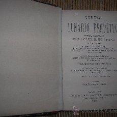 Libros antiguos: LUNARIO PERPETUO DE JERÓNIMO CORTÉS 1888. Lote 28534220