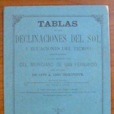 Libros antiguos: TABLAS DE LAS DECLINACIONES DEL SOL Y ECUACIONES DEL TIEMPO. (1872). Lote 29362788