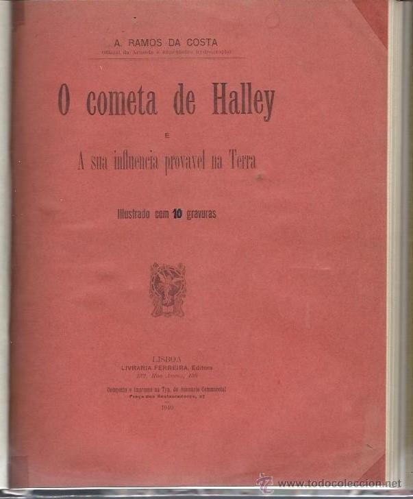 O COMETA DE HALLEY, RAMOS DA COSTA, ILUSTRADO CON 10 GRABADOS, LISBOA 1910 (Libros Antiguos, Raros y Curiosos - Ciencias, Manuales y Oficios - Astronomía)