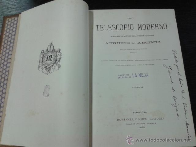Libros antiguos: EL TELESCOPIO MODERNO, AUGUSTO T ARCIMIS, 1878 - Foto 7 - 44970294