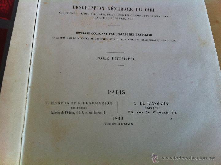 Libros antiguos: ASTRONOMIE POPULAIRE. TOMOS I Y II. CAMILLE FLAMMARION. A.LE VASSEUR EDITEUR. AÑO 1880. ILUSTRADO. - Foto 11 - 44980460