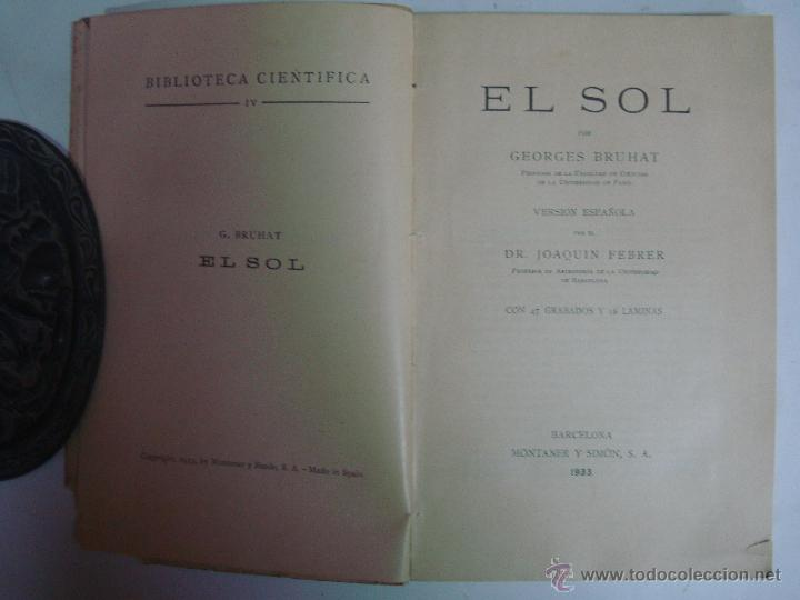 Libros antiguos: GEORGES BRUHAT. EL SOL. ED. MONTANER Y SIMÓN. 1933. OBRA ILUSTRADA - Foto 2 - 45218196