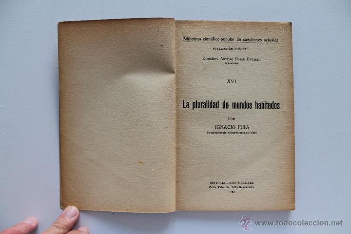 Libros antiguos: La pluralidad de los mundos habitados. Ignacio Puig. 1934 - Foto 2 - 46307099