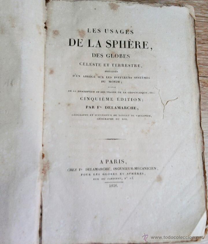 Libros antiguos: LIBRO AÑO 1826,TEMA ASTRONOMIA,GLOBO TERRAQUEO Y CELESTE-LES USAGES DE LA SPHERE DES GLOBES-FRANCES - Foto 6 - 48809471