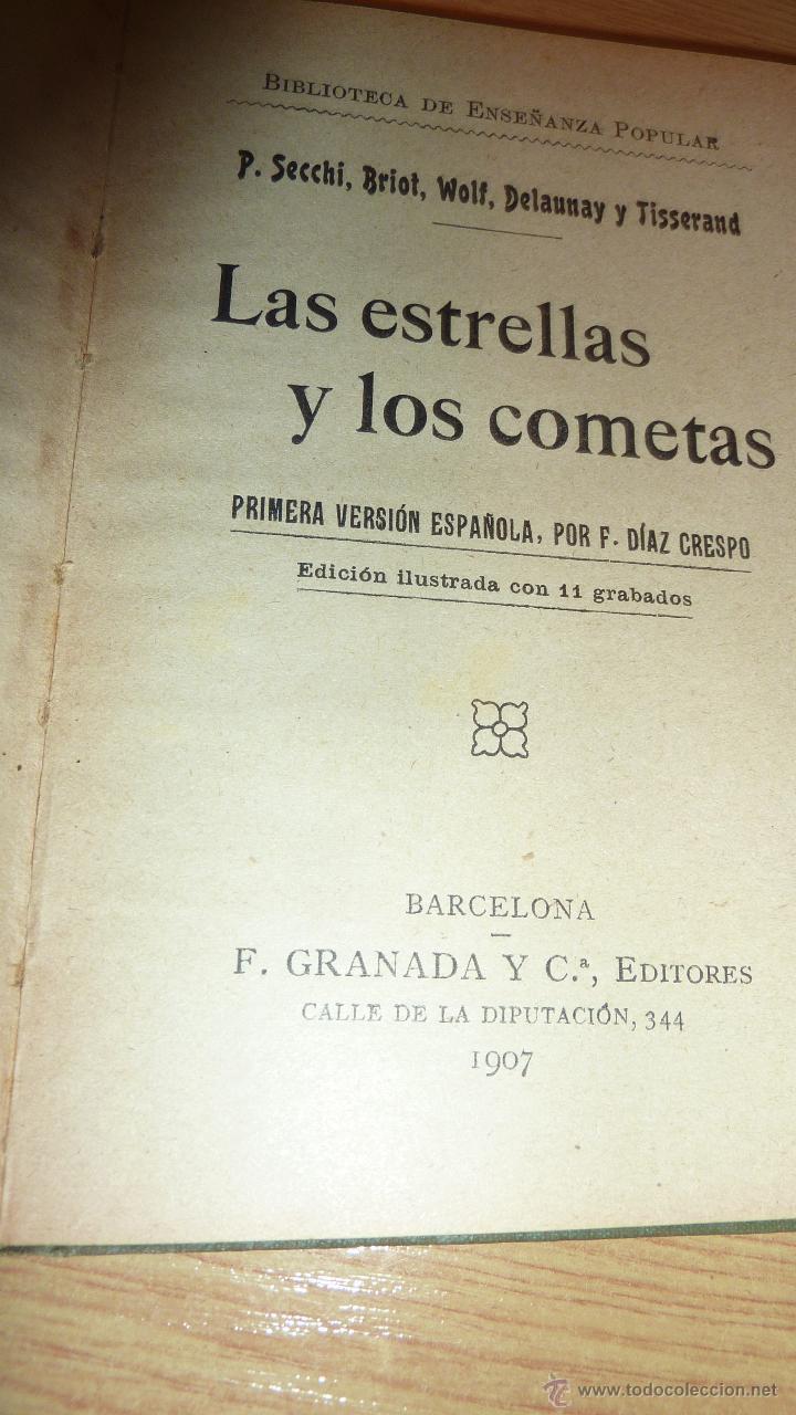 Libros antiguos: Las Estrellas y los cometas . Secchi 1907 . 11 grabados 174 pág . 15 / 10 cm - Foto 2 - 49002452