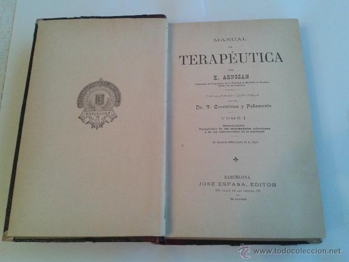 Libros antiguos: MANUAL DE TERAPEUTICA POR X. ARNOZAN, TOMO I DE FINALES DEL XIX Y PRINCIPIOS DEL XX - Foto 2 - 49027517