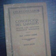 Libros antiguos: CONCEPCION DEL UNIVERSO, LUDWIG BUSSE, COLECCION LABOR 1927. Lote 49194901
