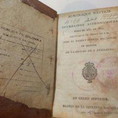 Libros antiguos: ANTIGUO LIBRO ALMANAQUE NAUTICO Y EFEMERIDES ASTRONOMICAS CALCULADAS PARA EL AÑO 1825. Lote 49529536