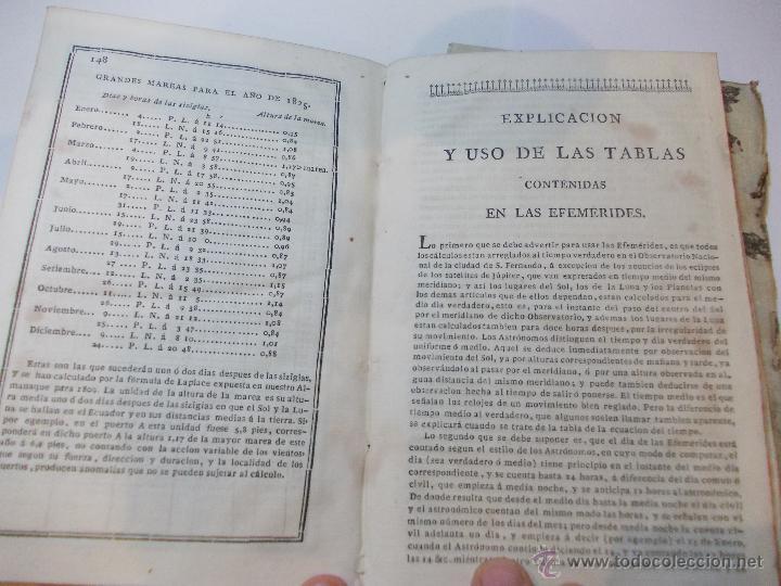 Libros antiguos: ANTIGUO LIBRO ALMANAQUE NAUTICO Y EFEMERIDES ASTRONOMICAS CALCULADAS PARA EL AÑO 1825 - Foto 4 - 49529536