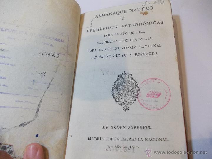 ANTIGUO LIBRO ALMANAQUE NAUTICO Y EFEMERIDES ASTRONOMICAS CALCULADAS PARA EL AÑO 1824 (Libros Antiguos, Raros y Curiosos - Ciencias, Manuales y Oficios - Astronomía)