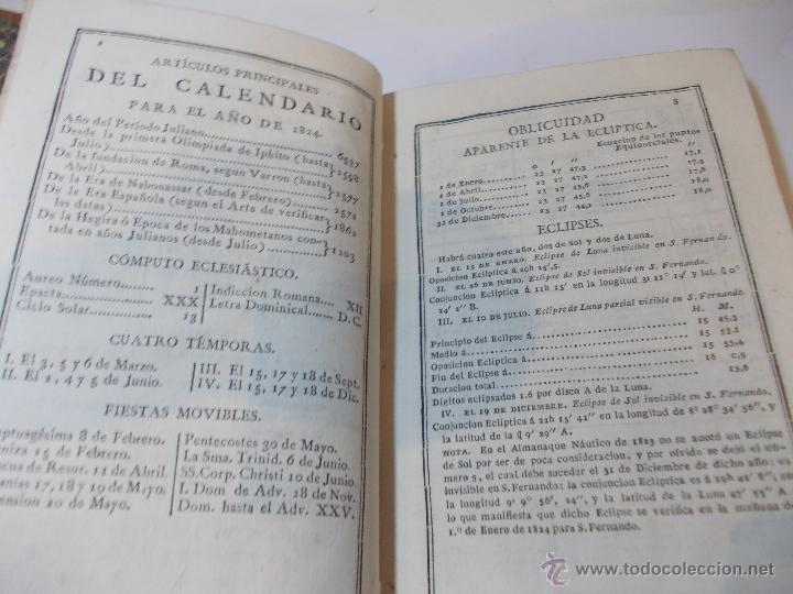Libros antiguos: ANTIGUO LIBRO ALMANAQUE NAUTICO Y EFEMERIDES ASTRONOMICAS CALCULADAS PARA EL AÑO 1824 - Foto 3 - 49529637