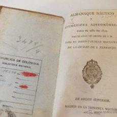 Libros antiguos: ANTIGUO LIBRO ALMANAQUE NAUTICO Y EFEMERIDES ASTRONOMICAS CALCULADAS PARA EL AÑO 1824. Lote 49529980