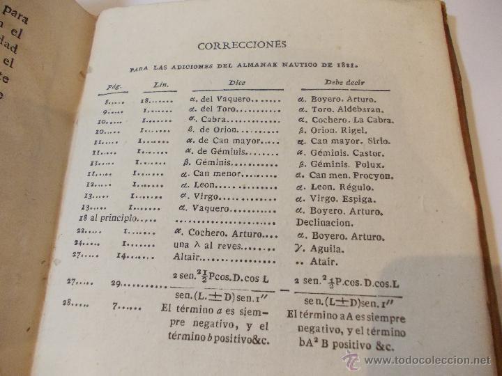 Libros antiguos: ANTIGUO LIBRO ALMANAQUE NAUTICO Y EFEMERIDES ASTRONOMICAS CALCULADAS PARA EL AÑO 1823 - Foto 4 - 49530089