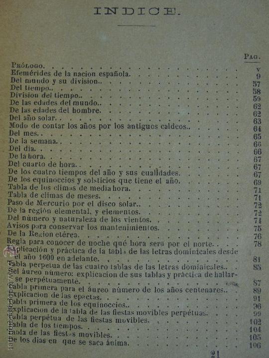 Libros antiguos: LUNARIO PERPETUO PRONOSTICO GENERAL Y PARTICULAR DEL REINO Y PROVINCIAS. CORTES. 1903?. VER FOTOS. - Foto 20 - 52590613