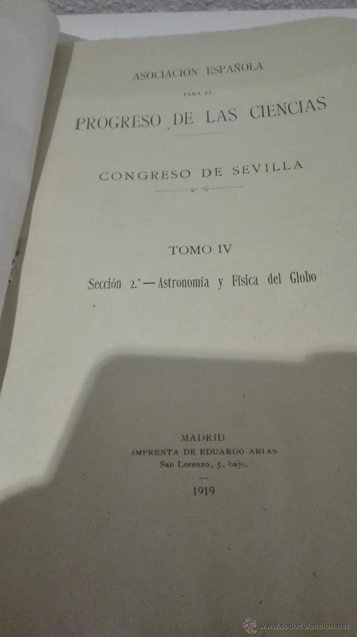 Libros antiguos: CONGRESO DE SEVILLA TOMO IV, ASTRONOMÍA Y FÍSICA DEL GLOBO - Foto 2 - 52953783