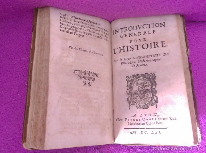Libros antiguos: LES PRINCIPES DE LA SPHERE DE GEOGRAPHIE ET D'ASTRONOMIE + INTRO HISTOIRE 1661 - Foto 4 - 56496992