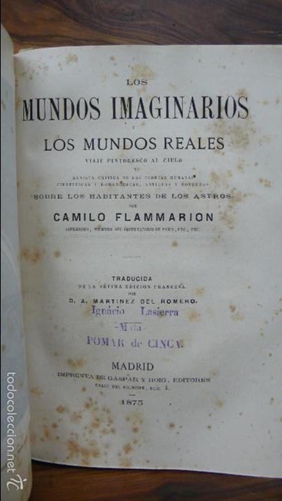 Libros antiguos: 2 OBRAS DE FLAMMARION: LA PLURALIDAD DE MUNDOS HABITADOS Y LOS MUNDOS IMAGINARIOS, 1873. - Foto 5 - 56817719