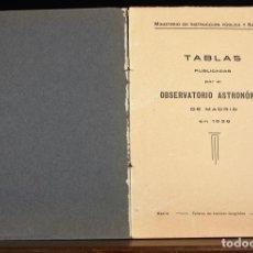 Libros antiguos: LP-318 - TABLAS PUBLICADAS POR EL OBSERVATORIO ASTRONÓMICO. TALL. INST. GEOGRÁFICO. 1938.. Lote 66206314