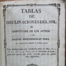 Libros antiguos: TABLAS DE DECLINACIONES DEL SOL DE AMPLITUDES DE LOS ASTROS..PARA 1813 A 1816. JORGE JUAN. C. 1812.. Lote 74078935