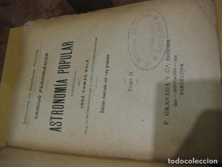 Libros antiguos: antiguo libro astronomia popular . c. Flammarion , tomo II . grabados ed f, granada años 20? - Foto 2 - 75739323