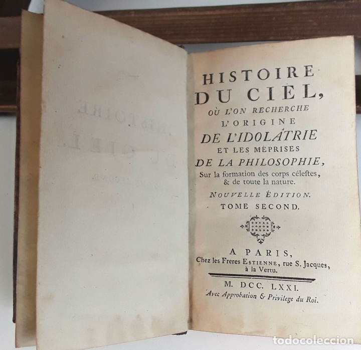 Libros antiguos: HISTOIRE DU CIEL. TOMO SECOND. VV. AA. EDIT. FRERES ESTIENNE. 1771. - Foto 3 - 79303361