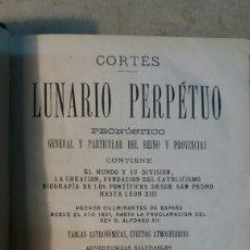 Libros antiguos: LIBRO ANTIGUO, LUNARIO PERPETUO. MANUEL SAURI, EDITOR. BARCELONA 1878. Lote 159298617
