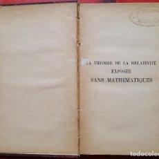 Libros antiguos: THEORIE DE LA RELATIVITÉ. Lote 97940031