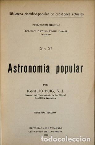 Libros antiguos: PUIG, Ignacio. Astronomía popular. Segunda edición. 1936. - Foto 2 - 109255787