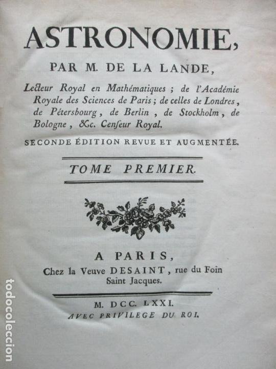 ASTRONOMIE. - LA LANDE, JERÔME DE. (Libros Antiguos, Raros y Curiosos - Ciencias, Manuales y Oficios - Astronomía)