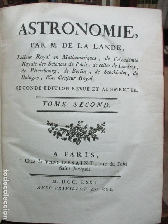 Libros antiguos: ASTRONOMIE. - LA LANDE, Jerôme de. - Foto 7 - 109021662