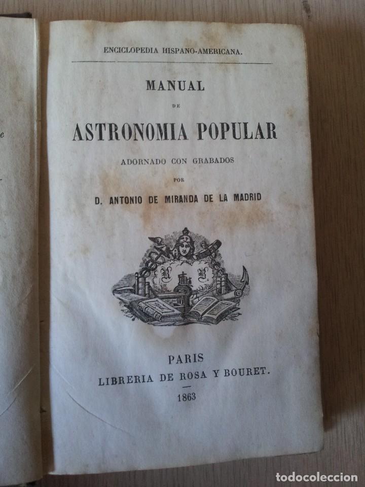Libros antiguos: D. ANTONIO DE MIRANDA DE LA MADRID - MANUAL DE ASTRONOMIA POPULAR CON GRABADOS - 1863 - Foto 3 - 110953331