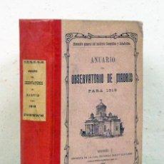 Libros antiguos: ANUARIO DEL OBSERVATORIO [ASTRONÓMICO] DE MADRID PARA 1919. INSTITUTO GEOGRÁFICO Y ESTADÍSTICO, 1918. Lote 121216182
