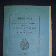 Libros antiguos: RELOJES SOLARES. ZARAGOZA 1875. LÁMINA DESPLEGABLE. RARO.. Lote 124547475