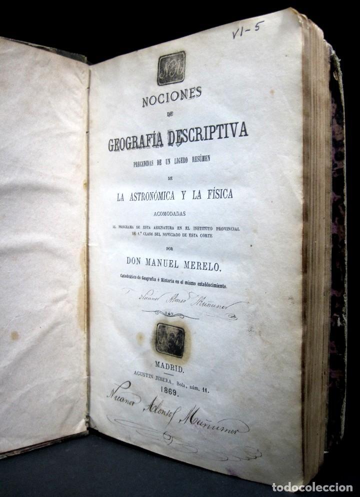 Libros antiguos: Año 1869 Astronomía Física y Geografía descriptiva Tabla desplegable Cuba Filipinas Merelo - Foto 2 - 125822183