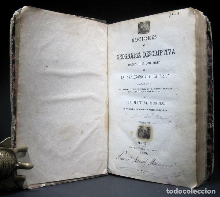 Libros antiguos: Año 1869 Astronomía Física y Geografía descriptiva Tabla desplegable Cuba Filipinas Merelo - Foto 4 - 125822183