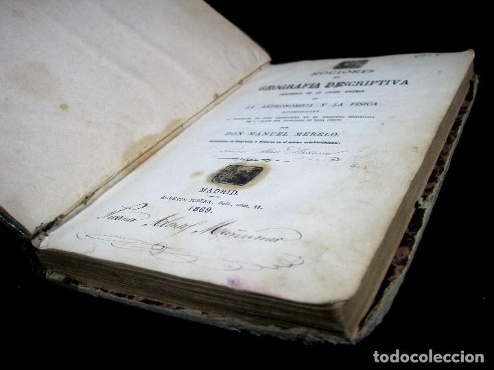 Libros antiguos: Año 1869 Astronomía Física y Geografía descriptiva Tabla desplegable Cuba Filipinas Merelo - Foto 5 - 125822183