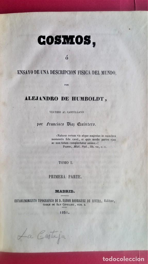 Libros antiguos: LIBRO,COSMOS ENSAYO DE UNA DESCRIPCION FISICA DEL MUNDO,SIGLO XIX AÑO 1851,2 TOMOS,ESPACIO-UNIVERSO - Foto 6 - 138935742