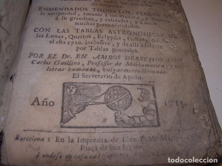 Libros antiguos: PRIMERA EDICION DEL AÑO 1713.EL NON PLUS ULTRA DEL LUNARIO Y PRONOSTICO PERPETUO.... TAPAS PERGAMINO - Foto 5 - 142463270