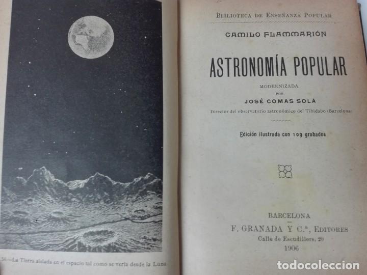 ASTRONOMIA POPULAR FLAMMARION JOSE COMAS SOLA 1906 ILUSTRADO (Libros Antiguos, Raros y Curiosos - Ciencias, Manuales y Oficios - Astronomía)
