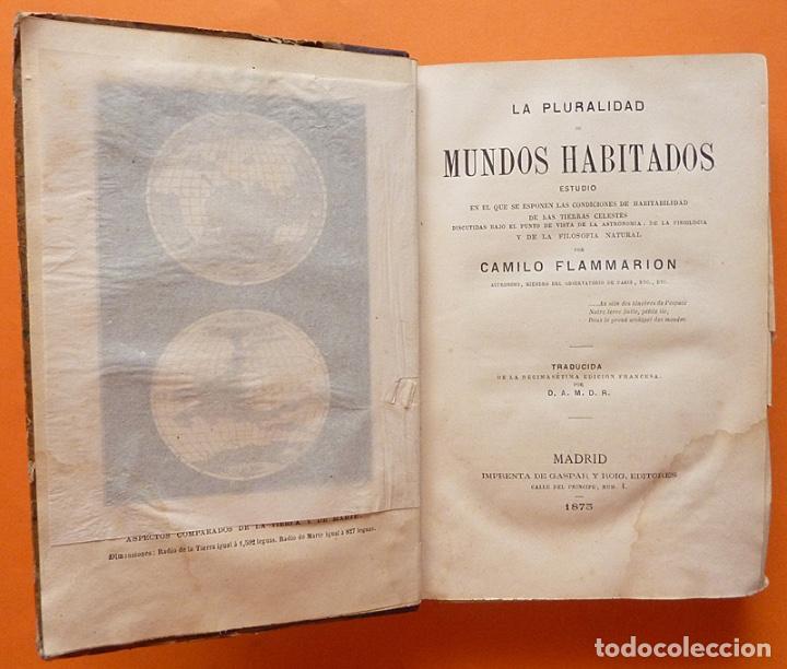 Alte Bücher: LA PLURALIDAD DE MUNDOS HABITADOS - CAMILO FLAMMARION - GASPAR Y ROIG EDITORES - 1873 - Foto 4 - 147378386