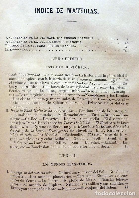 Alte Bücher: LA PLURALIDAD DE MUNDOS HABITADOS - CAMILO FLAMMARION - GASPAR Y ROIG EDITORES - 1873 - Foto 6 - 147378386