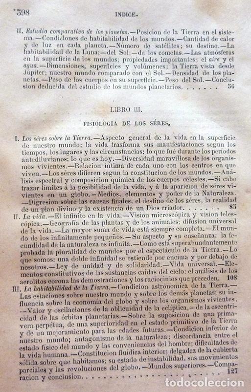 Alte Bücher: LA PLURALIDAD DE MUNDOS HABITADOS - CAMILO FLAMMARION - GASPAR Y ROIG EDITORES - 1873 - Foto 7 - 147378386