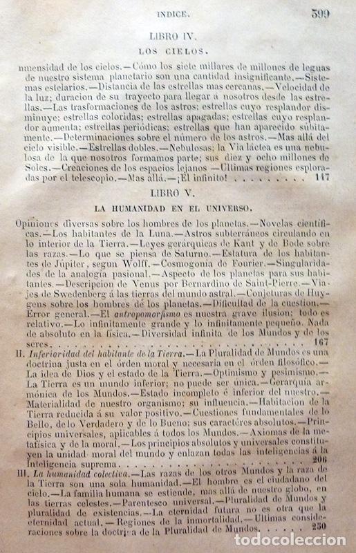 Alte Bücher: LA PLURALIDAD DE MUNDOS HABITADOS - CAMILO FLAMMARION - GASPAR Y ROIG EDITORES - 1873 - Foto 8 - 147378386