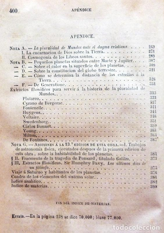 Alte Bücher: LA PLURALIDAD DE MUNDOS HABITADOS - CAMILO FLAMMARION - GASPAR Y ROIG EDITORES - 1873 - Foto 9 - 147378386