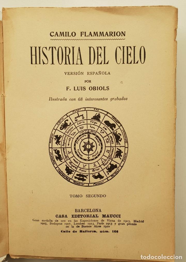 Libros antiguos: Historia del cielo de Camilo Flammarion II Tomos - Foto 4 - 150262374