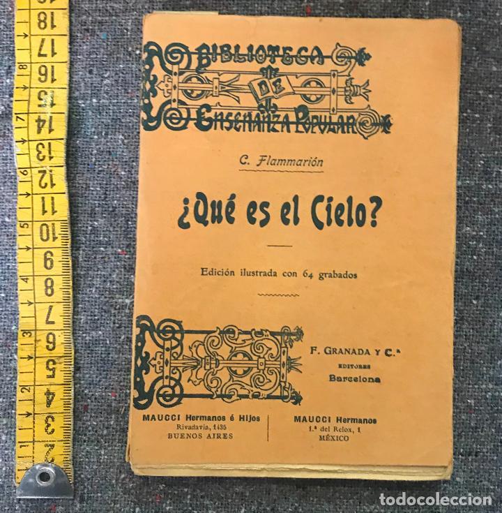 BIBLIOTECA DE ENSEÑANZA POPULAR - ¿QUE ES EL CIELO? C. FLAMMARION - EDICION ILUSTRADA (Libros Antiguos, Raros y Curiosos - Ciencias, Manuales y Oficios - Astronomía)